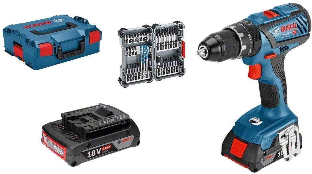Taladro percutor Bosch Professional 18V  + accesorios