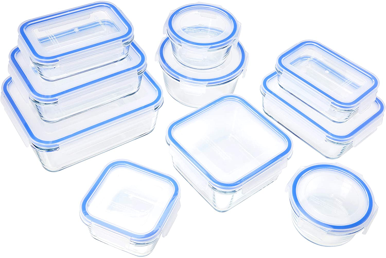 Recipientes de cristal para alimentos Amazon Basics 20 piezas