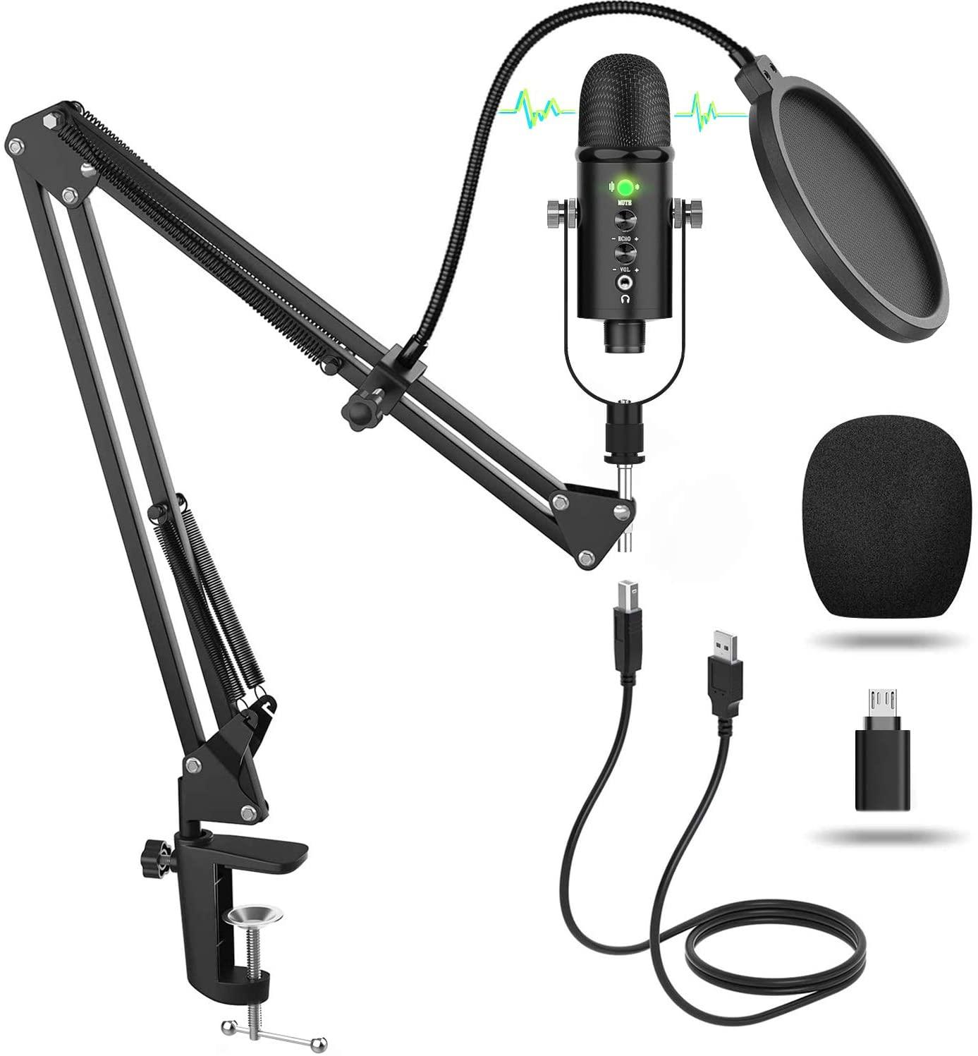 Micrófono cardioide de condensador + accesorios