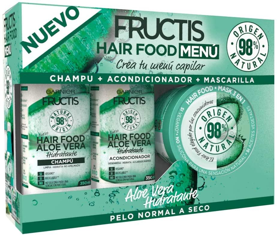 Pack Champú + Acondicionador + Mascarilla Garnier Fructis Hair Food Menu Aloe Vera