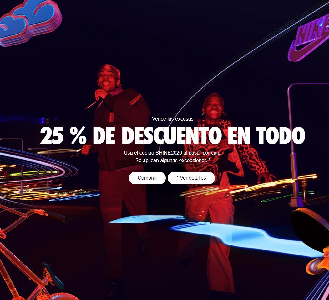 25% de descuento en toda la tienda Nike