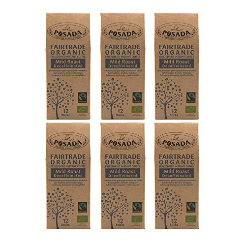 6x 12 Sobres Café soluble Mild Roast Descafeinado 100% arábica La Posada