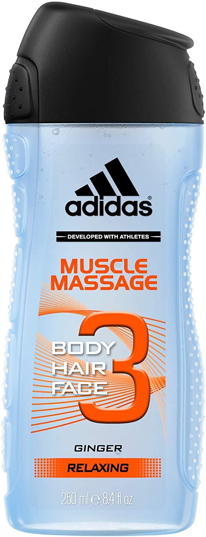 4X250ml Adidas Gel de ducha 3 en 1 Músculo Masaje