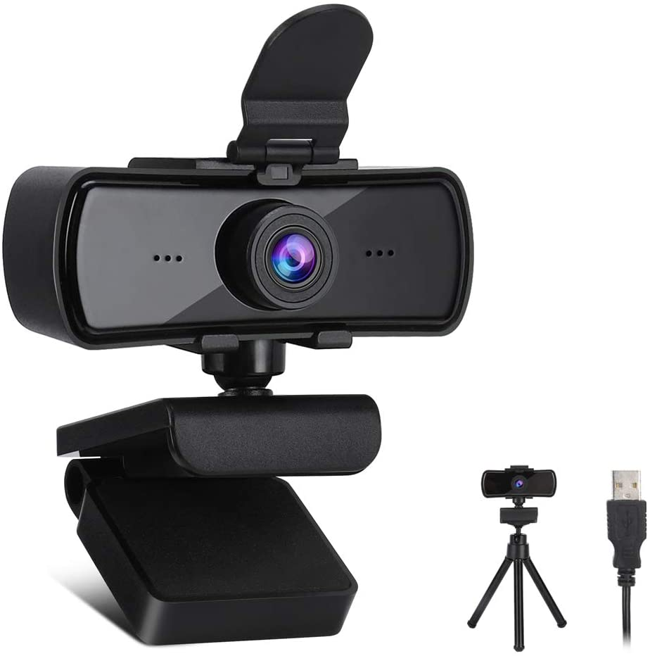 Webcam HD 2K con micrófono + trípode