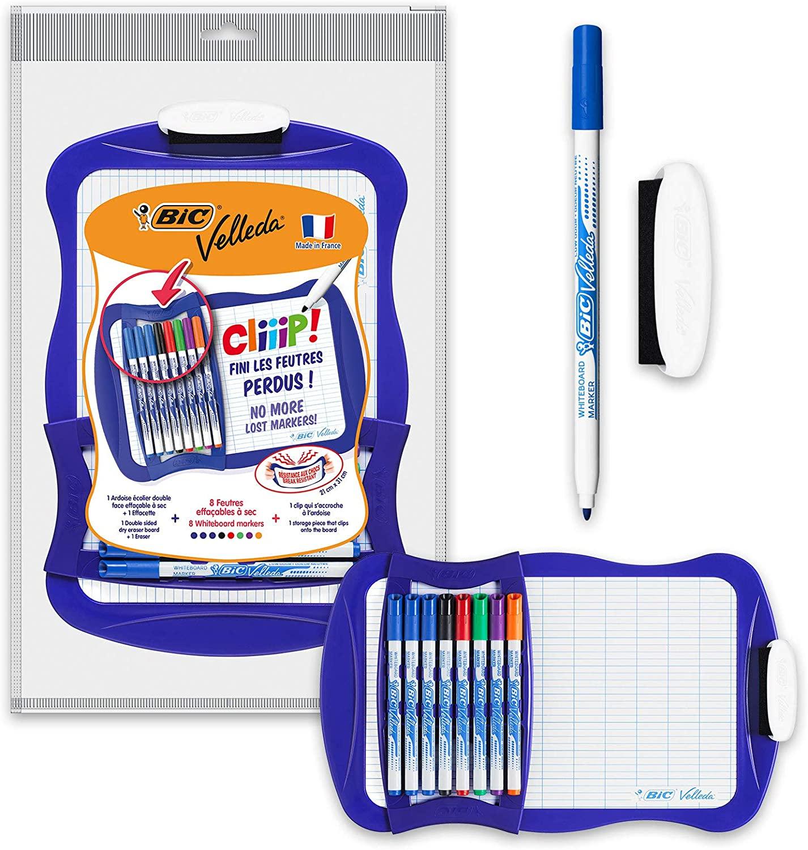 BIC Velleda Cliiip Set con pizarra blanca + 8 rotuladores finos + borrador