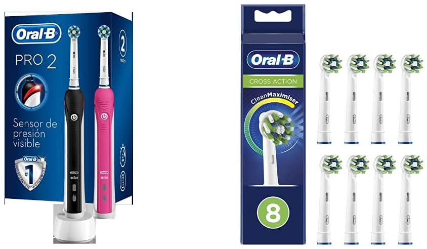 Pack 2 Cepillos De Dientes Eléctricos Oral-B 2950N PRO 2 + 8 Cabezales de Recambio Oral-B CrossAction