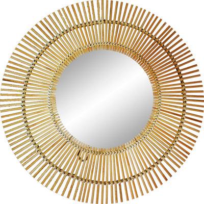 Espejo redondo de bamboo natural