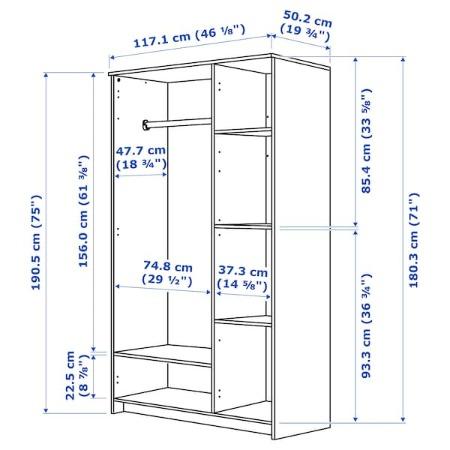 BRIMNES Armario con 3 puertas, blanco, 117x190 cm