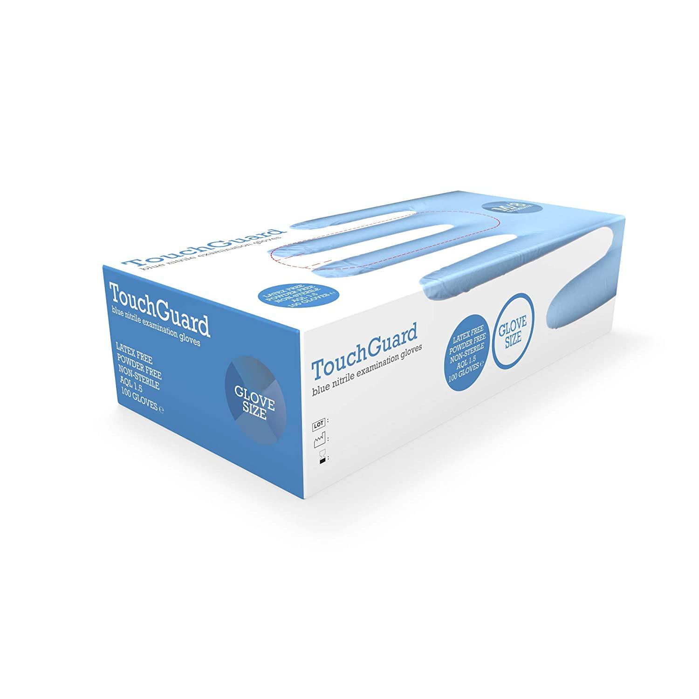 100 Guantes de vinilo azules desechables sin polvos
