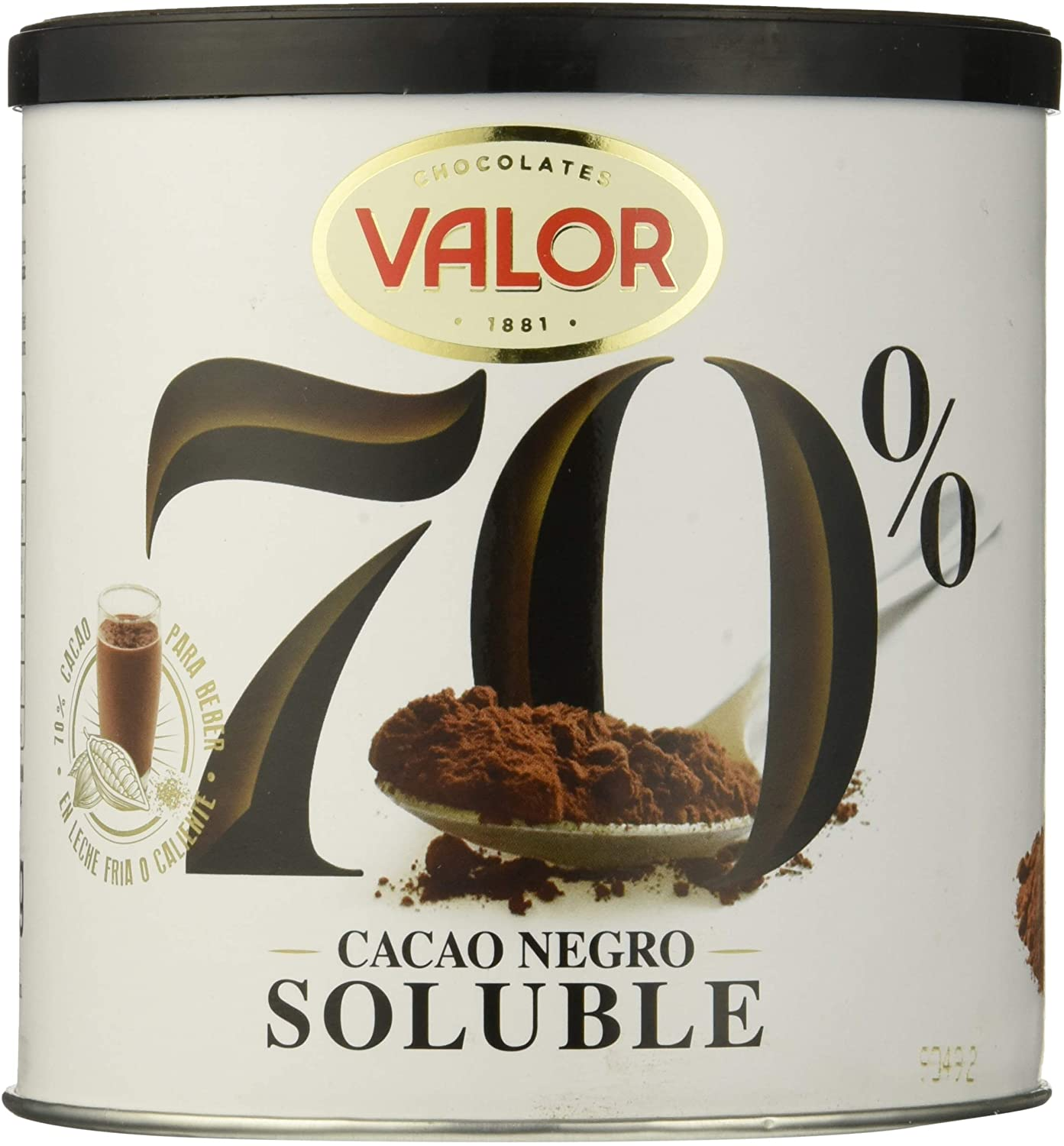 6x300g Valor Cacao Soluble Negro 70%