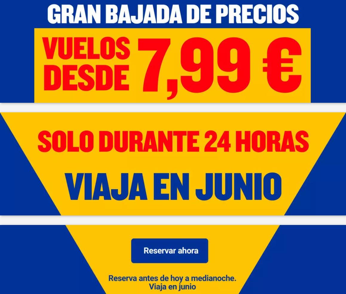 Solo hoy 15/06/21 vuelos con Ryanair desde 7,99€