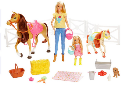 Muñecas Barbie y Chelsea con caballos y accesorios