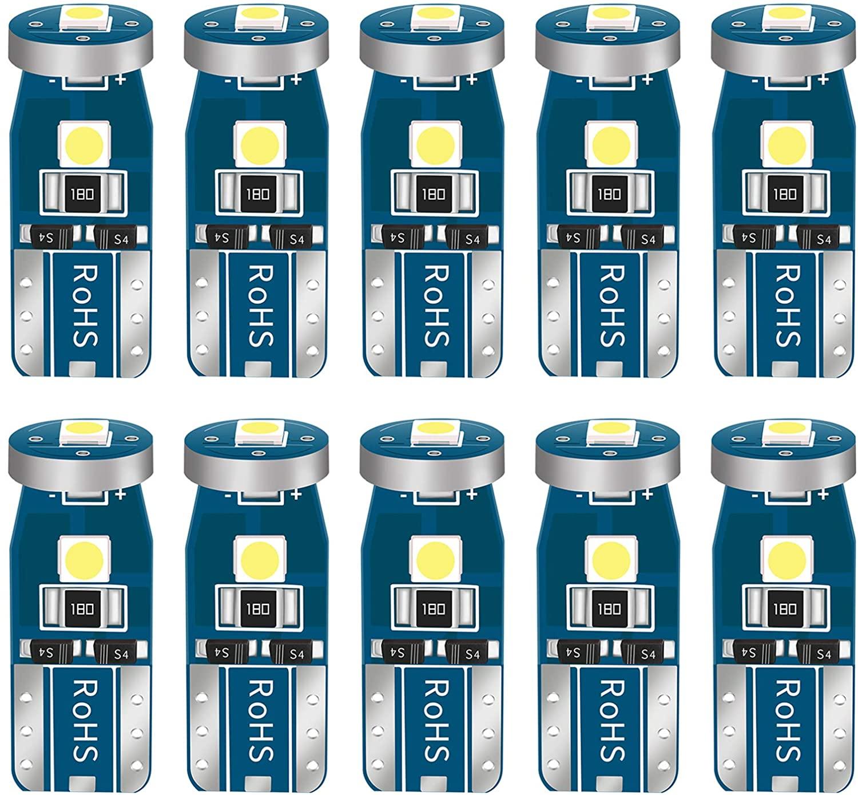 10 Bombillas LED W5W T10 para coche