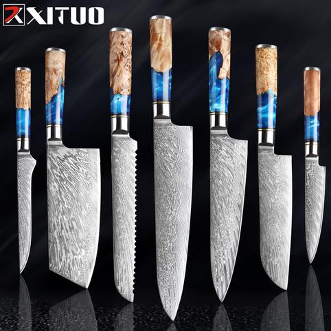 XITUO Juego de cuchillos de cocina de acero damasco