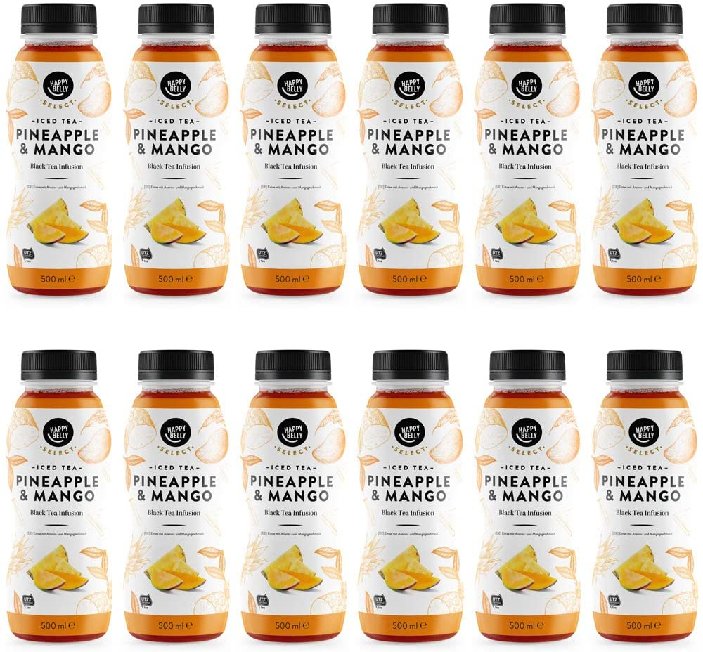 Té helado Happy Belly Select sabor mango y piña 12 x 500 ml