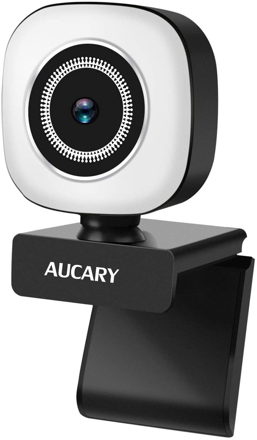 Cámara Web de 1080p con micrófono y anillo de luz incorporado
