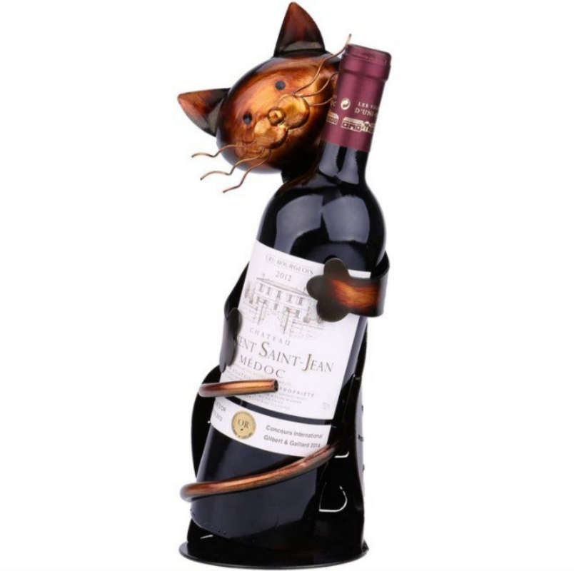Sujetabotellas de vino escultura de gato