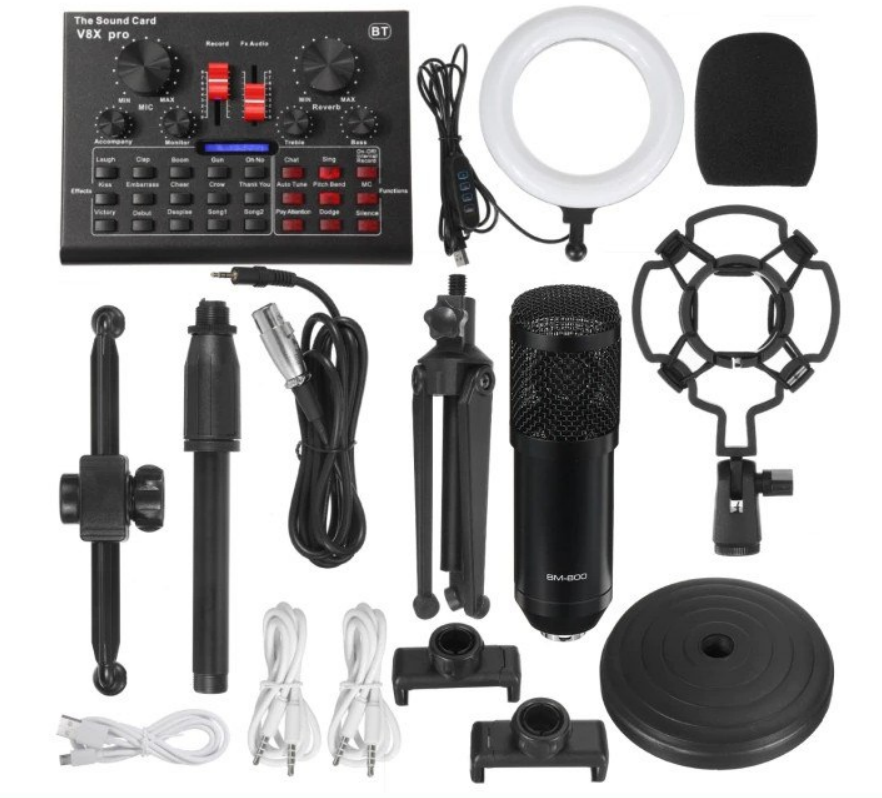Micrófono de condensador + Mesa mezcla y efectos + Aro de luz + Accesorios