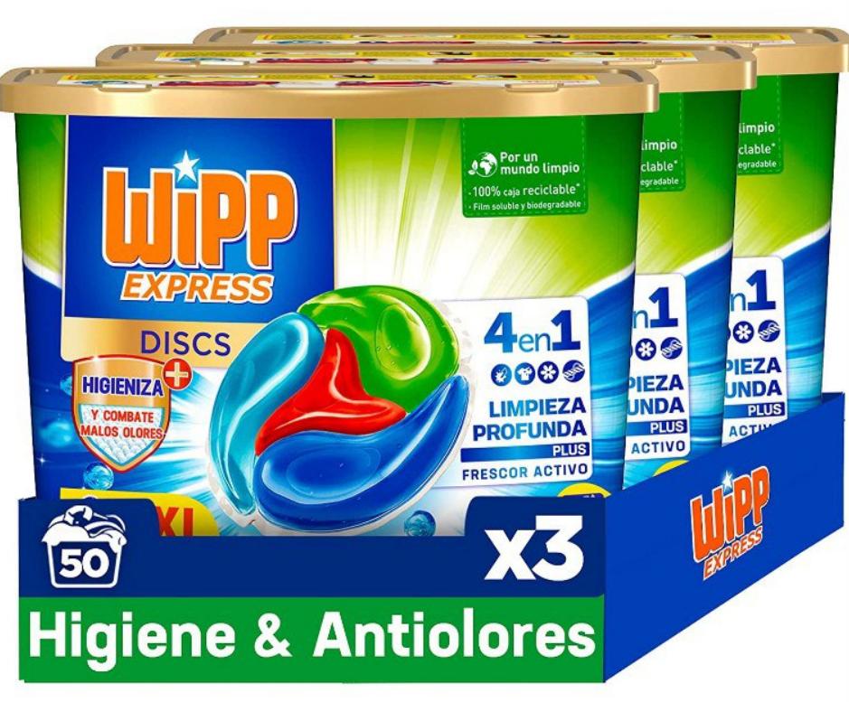 Pack de 3 Wipp Express Detergente Antiolores en Cápsulas 50 Discos