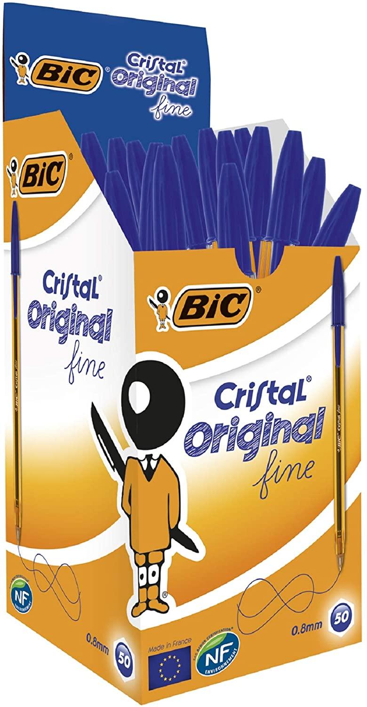 50X Bolígrafos BIC Cristal Azul