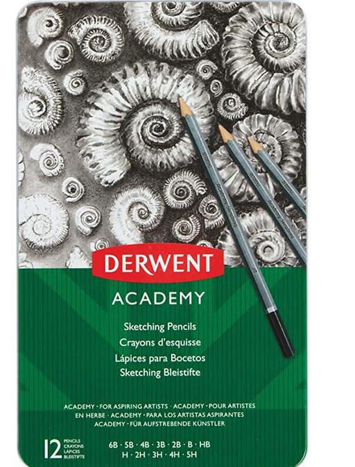 Caja metálica 12 lápices grafito