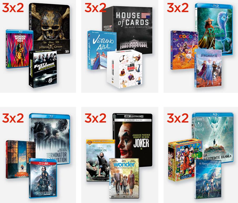 3 x 2 en películas y series en El Corte Ingles