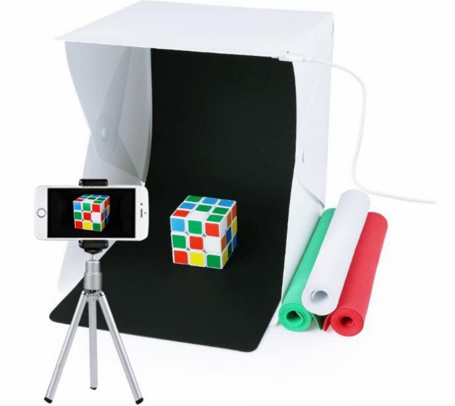 Caja de fotografía portátil con luz LED