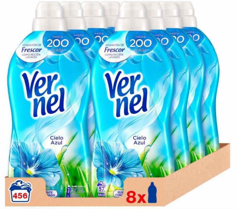 456 lavados con suavizante Vernel Cielo Azul