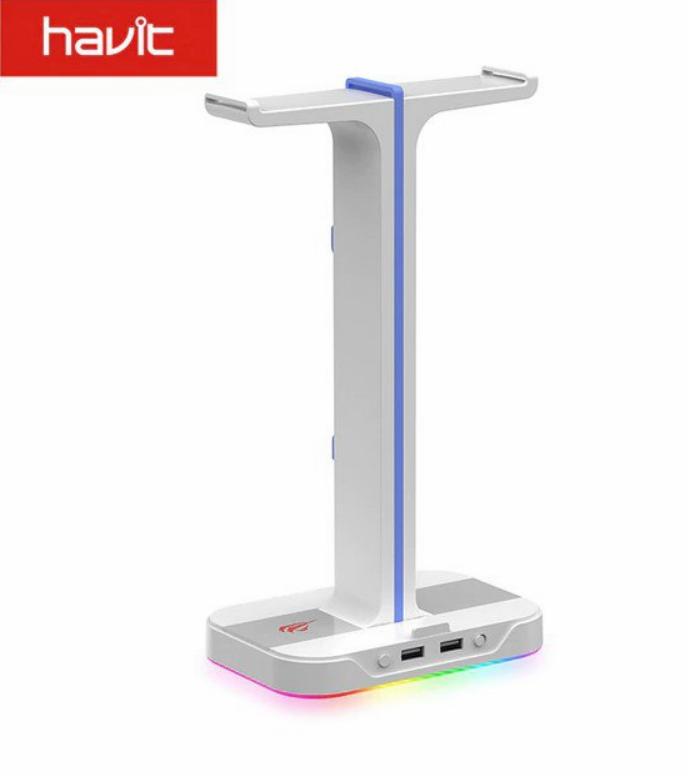Soporte RGB Doble para Auriculares y Cargador USB