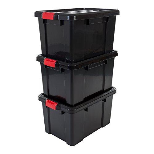 Set de 3 cajas de almacenamiento de plástico negro