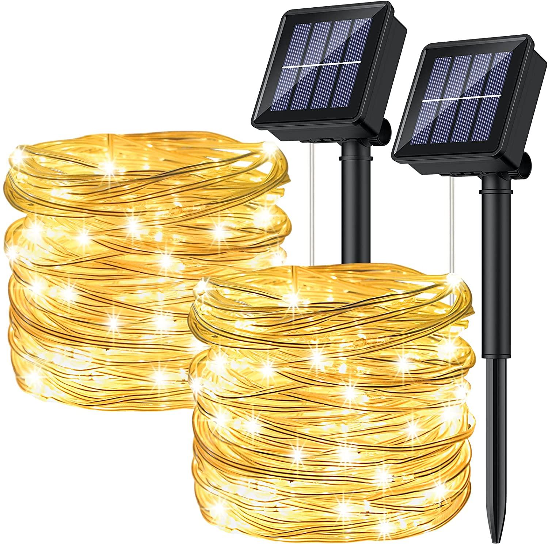 2x Guirnaldas 120 LED 12 metros con panel solar