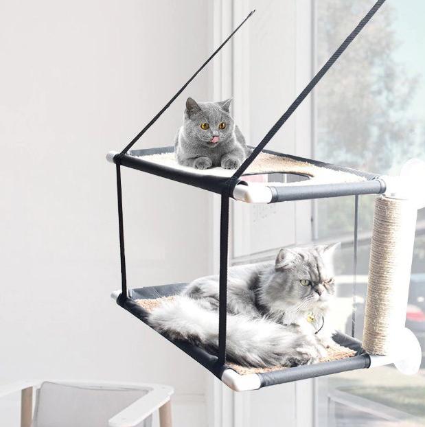 Hamaca de gatos con doble cama, rascador y soporte