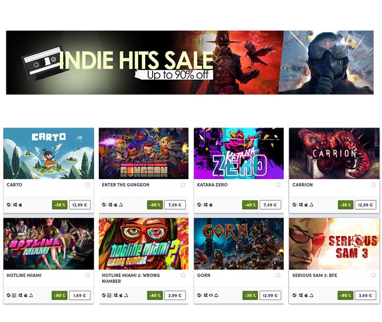 Hasta 90% descuento en juegos Indie