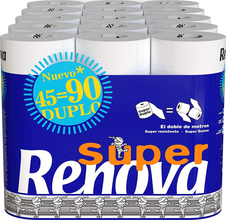 Pack de 45 rollos dobles de papel higiénico Renova Super Duplo