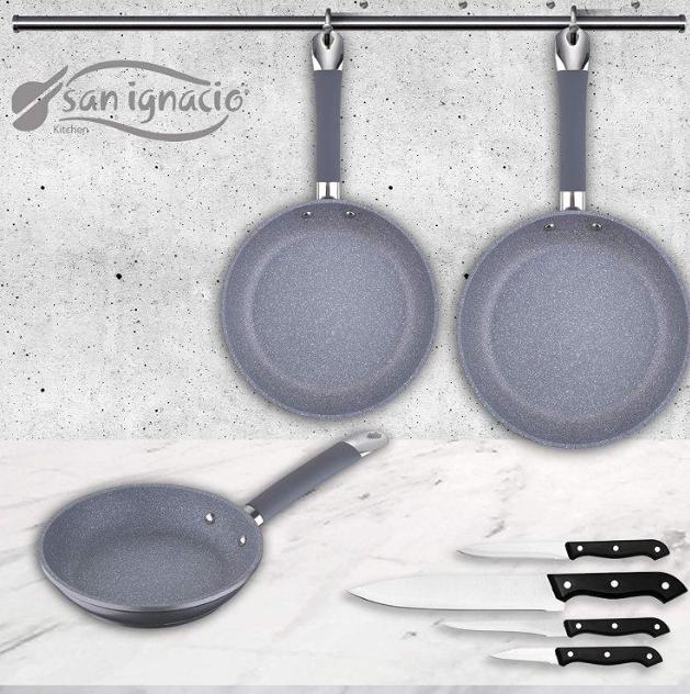 San Ignacio Premium SIP Set 3 sartenes + 4 Cuchillos