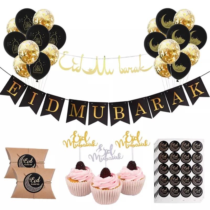 Cartel y globos para celebrar Ramadán