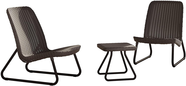 Conjunto de 2 sillas + mesa auxiliar de jardín