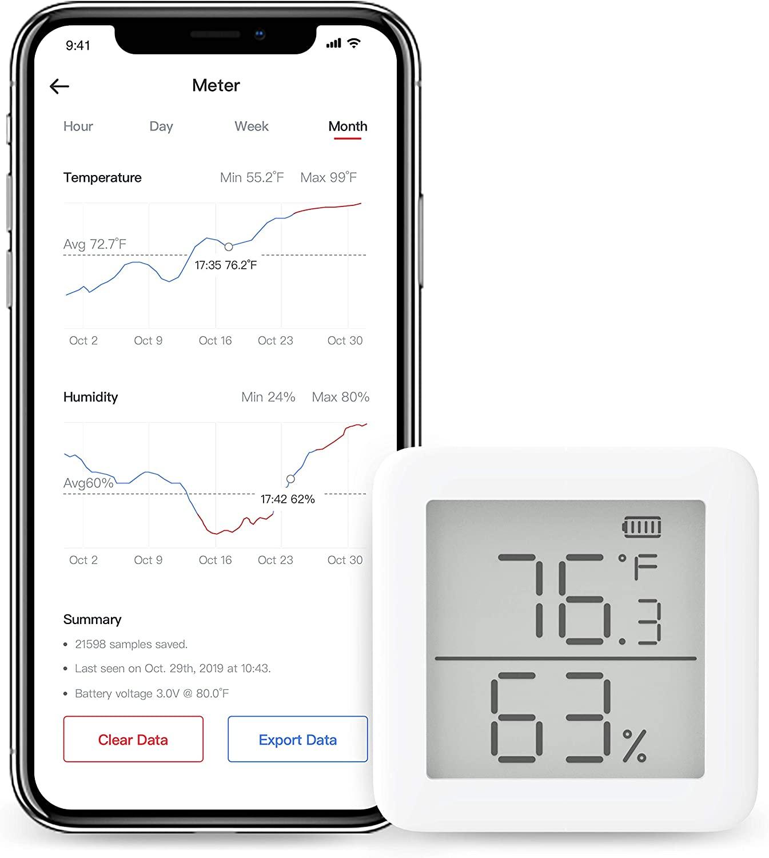 Termómetro higrómetrocon sensor de temperatura y humedad