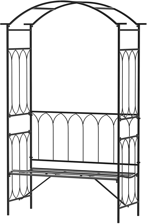 Arco de jardín con banco metálico