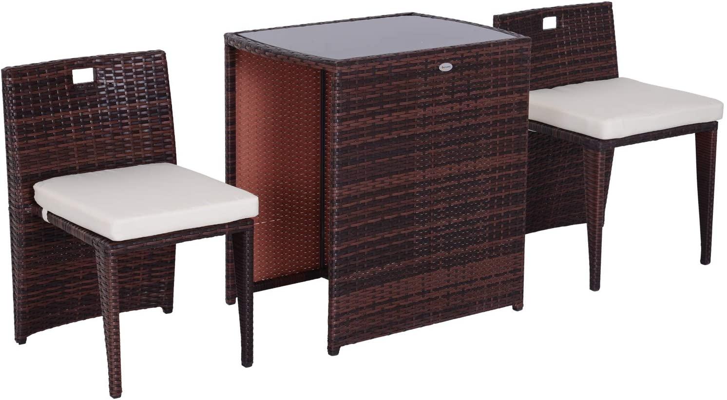 Outsunny Conjunto 1 mesa y 2 sillas