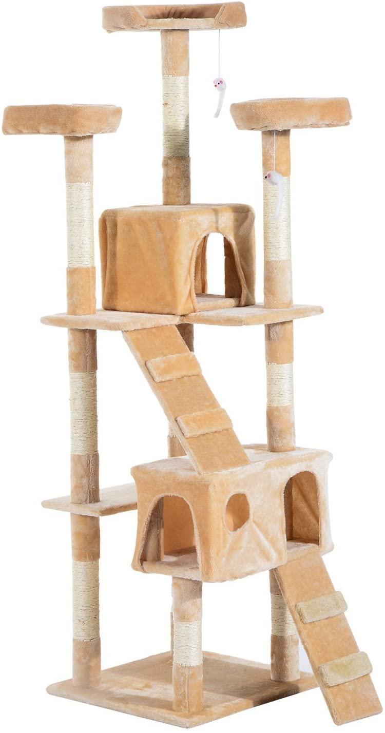 Pawhut Arbol rascador para gatos de 50x50x170cm