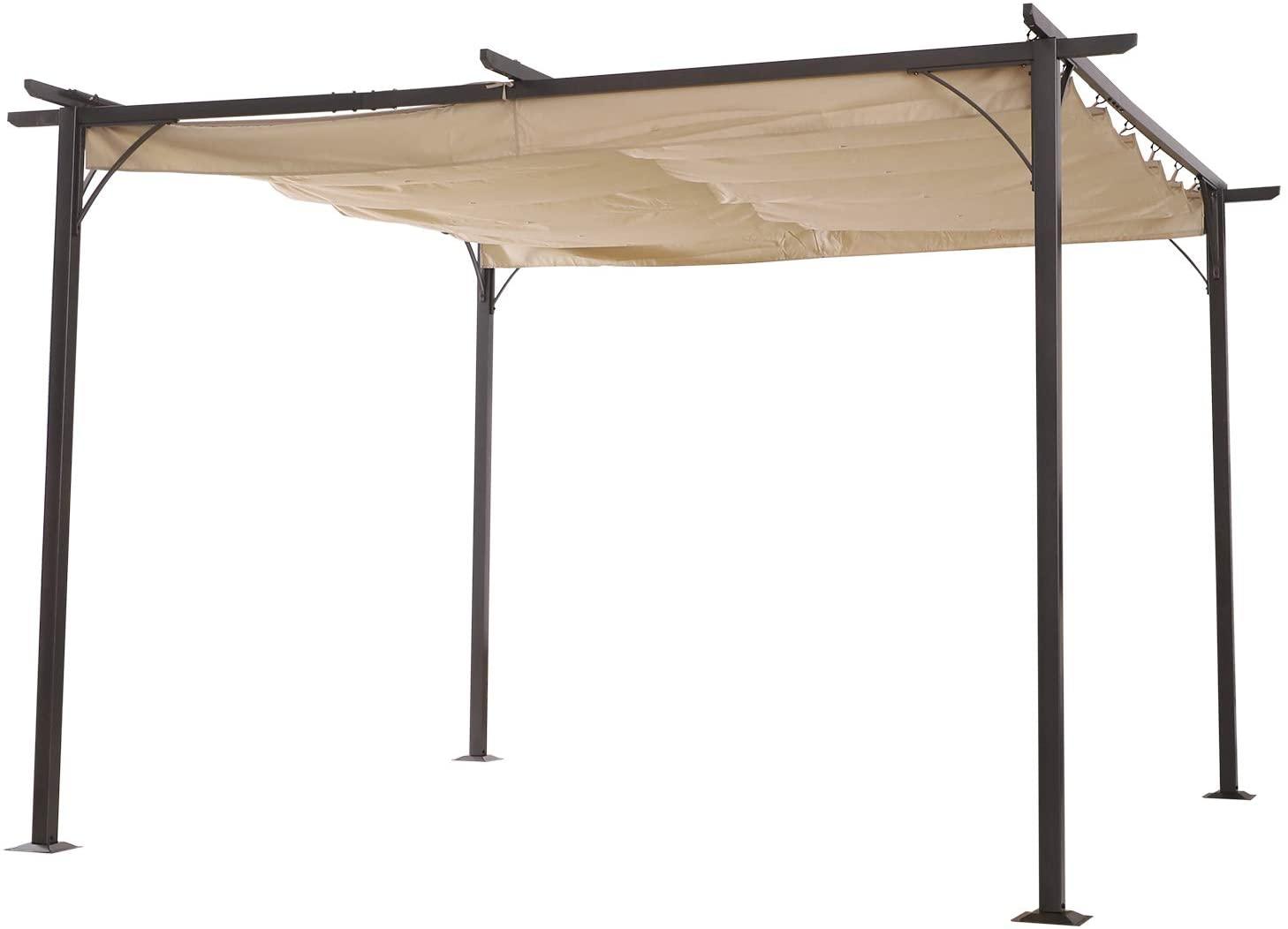 Pérgola de metal 3.5x3.5m con techo