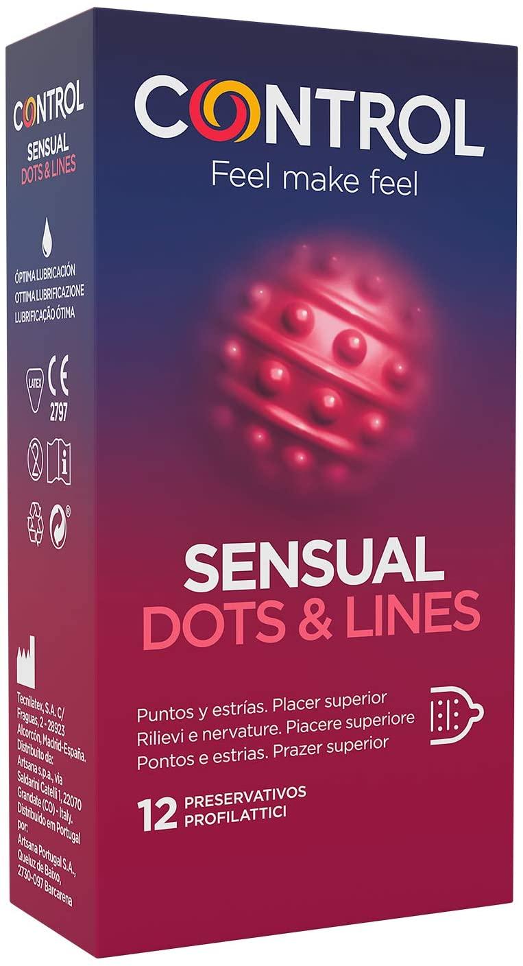 Pack de 12 preservativos Control Sensual Dots & Lines