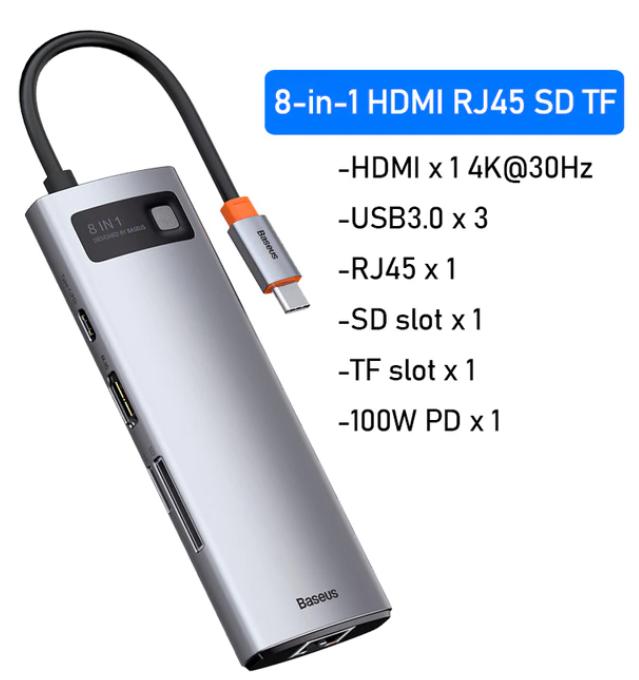 HUB Usb-C 8en1 hasta 100W