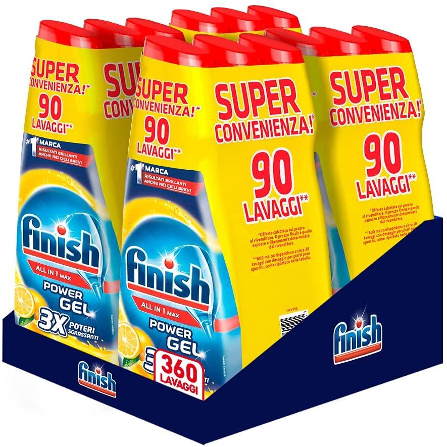 Detergente para lavavajillas Finish Powergel 12x 30 lavados