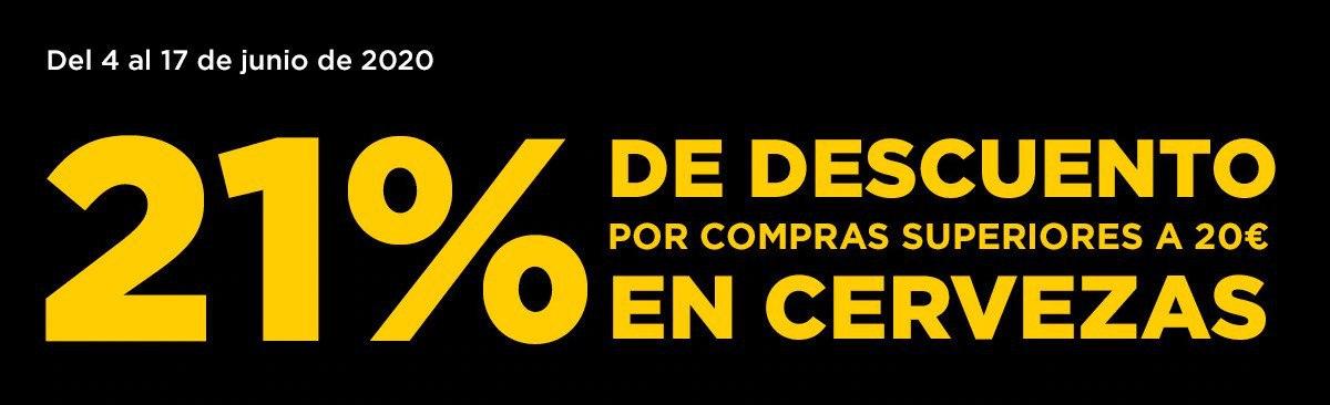21% de dto. en cervezas (pedidos +20€)