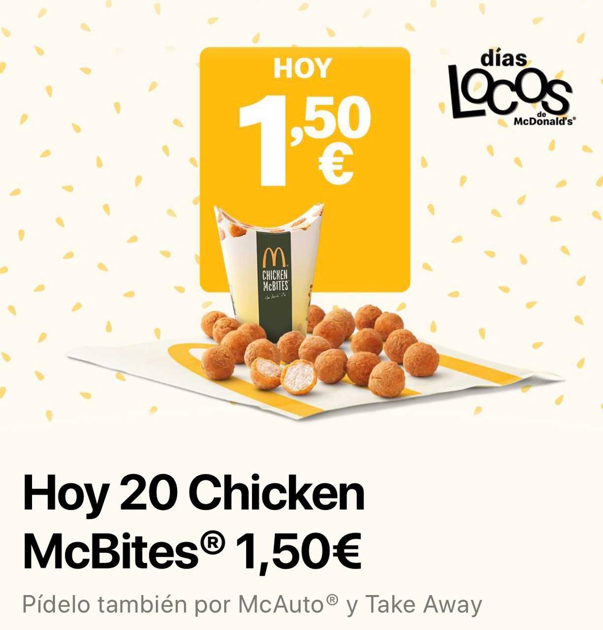 20 Chicken McBites con los días locos de McDonalds
