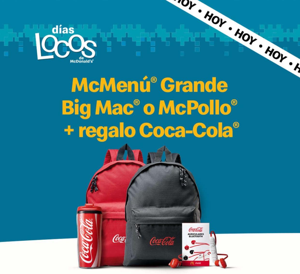 McMenú Grande Big Mac o McPollo + regalo Coca-Cola (Días Locos)