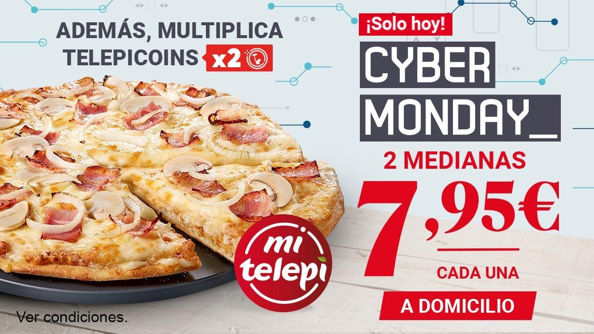 2 medianas  a domicilio hasta 5 ingr. en Telepizza