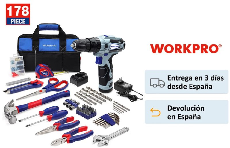 Kit de 178 herramientas + Atornillador eléctrico WorkPro
